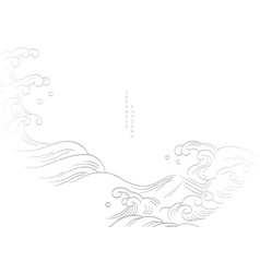 Chinese hand draw wave background with geometric vector