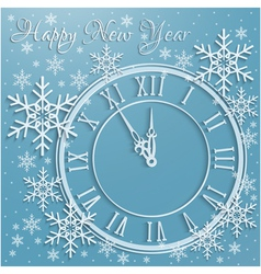 Christmas background with snowflakes and clock vector image