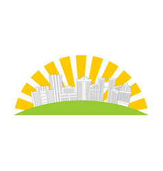 city logo new house emblem building and sun sign vector image
