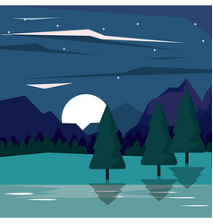 Colorful background of nightly landscape of vector