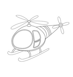 colorless funny cartoon helicopter vector image