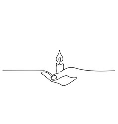 Continuous one line drawing hand holding burning vector