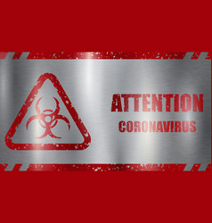 coronavirus warning sign vector image