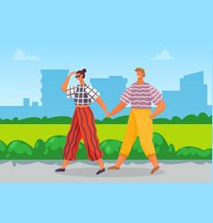 Couple walking in summer heat at urban city park vector