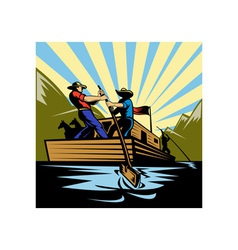 Cowboy man steering flatboat along river vector image