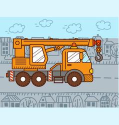 Crane truck in city vector
