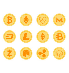 Crypto coins icons set vector