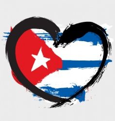 Cuba heart shape flag vector