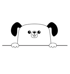 Dog happy face head icon hands paw holding table vector
