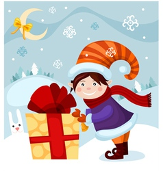 Elf with christmas present vector