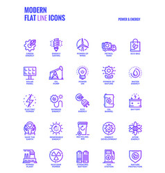 flat line gradient icons design-power and energy vector image