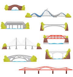 flat set of stone brick and metal bridges vector image