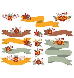 Floral Ribbons Set vector image