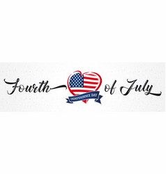 Fourth july usa heart ribbon vintage poster vector