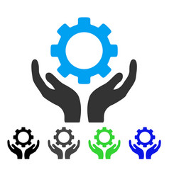 Gear maintenance hands flat icon vector