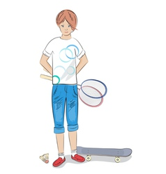Girl with badminton racket and skateboard vector image
