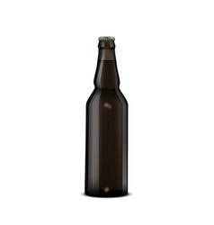 glass beer dark brown bottle on white vector image
