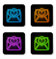 glowing neon envelope with valentine heart icon vector image
