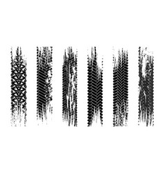 Grunge tire tracks texture collection seamless vector