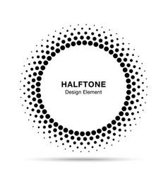 halftone circle frame dots logo emblem vector image