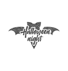 Halloween party night label template with bat sun vector