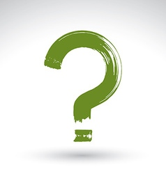 Hand drawn green question mark icon brush drawing vector image
