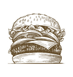 Hand drawn hamburger vector