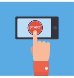 hand pushing start button on smartphone vector image