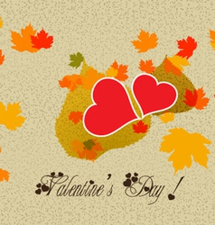 Happy valentine with leaf hearts vector image