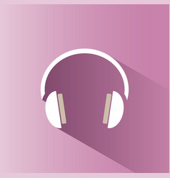 Headphones icon on a pink background with shade vector