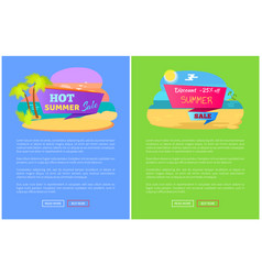hot summer sale discount off set of posters online vector image