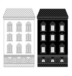 house tall building flat black and outline vector image