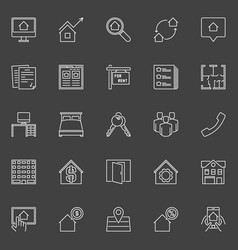 Houses for rent outline icons vector