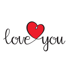 I love you love curly calligraphy sign with heart vector