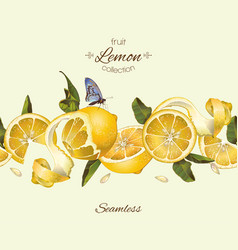 Lemon seamless border vector