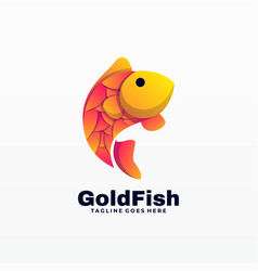 Logo gold fish gradient colorful style vector