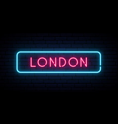 london neon sign bright light signboard banner vector image