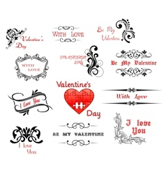 Love and Valentine Day calligraphic headers vector image