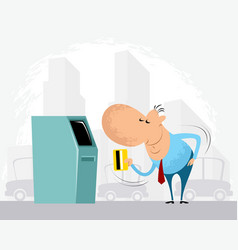 man and cash machine vector image