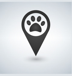 Map pointer paw print icon vector
