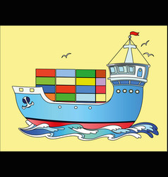 Marine cargo ship sailing on waves sea vector