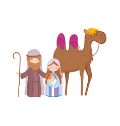 Mary joseph and bajesus with camel nativity vector