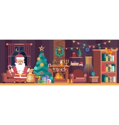 Merry Christmas interior with spruce and Santa vector image vector image