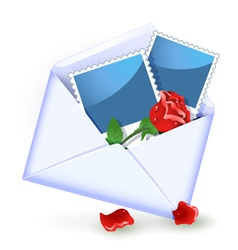 Open envelope with red rose vector image