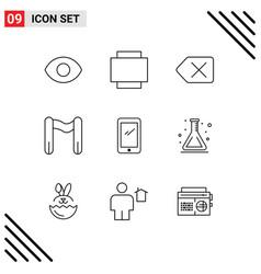Outline pack 9 universal symbols flask vector