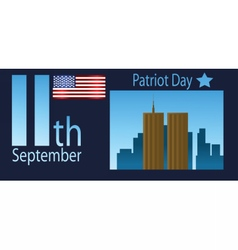 Patriot day with usa flag and twin towers vector