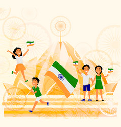 People with indian flags lotus temple postcard vector