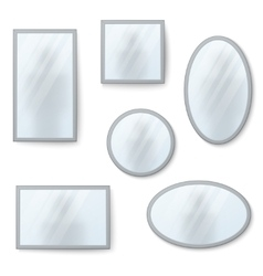 realistic mirrors set with blurry vector image