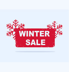 Red winter sale sticker with snowflakes vector