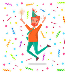 redhead bearded man merrily jump on birthday party vector image